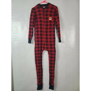 Lazy One Red Plaid One Piece Pajama Body Suit